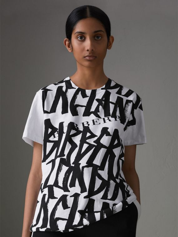Graffiti Print T-shirt in White