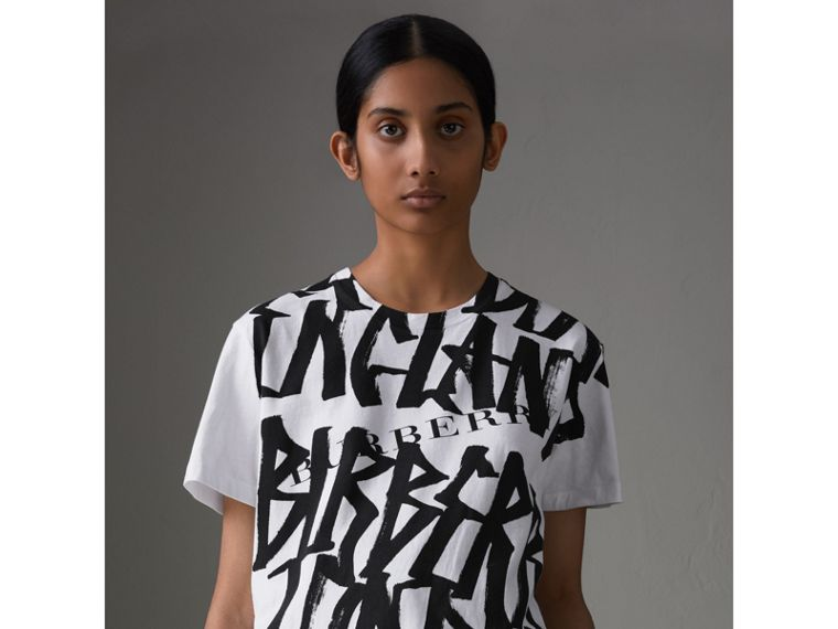 Graffiti Print T-shirt in White - Women | Burberry - cell image 4