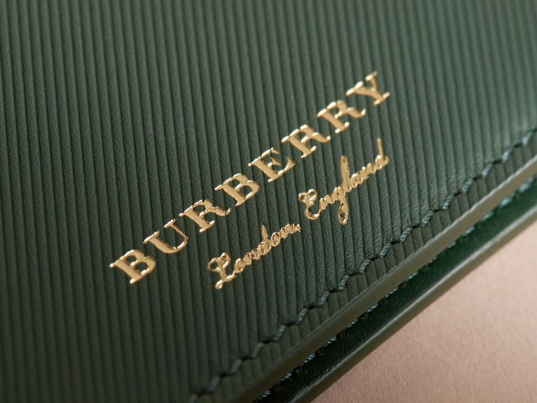 Trench Leather International Bifold Wallet in Dark Forest Green - Men | Burberry - cell image 1