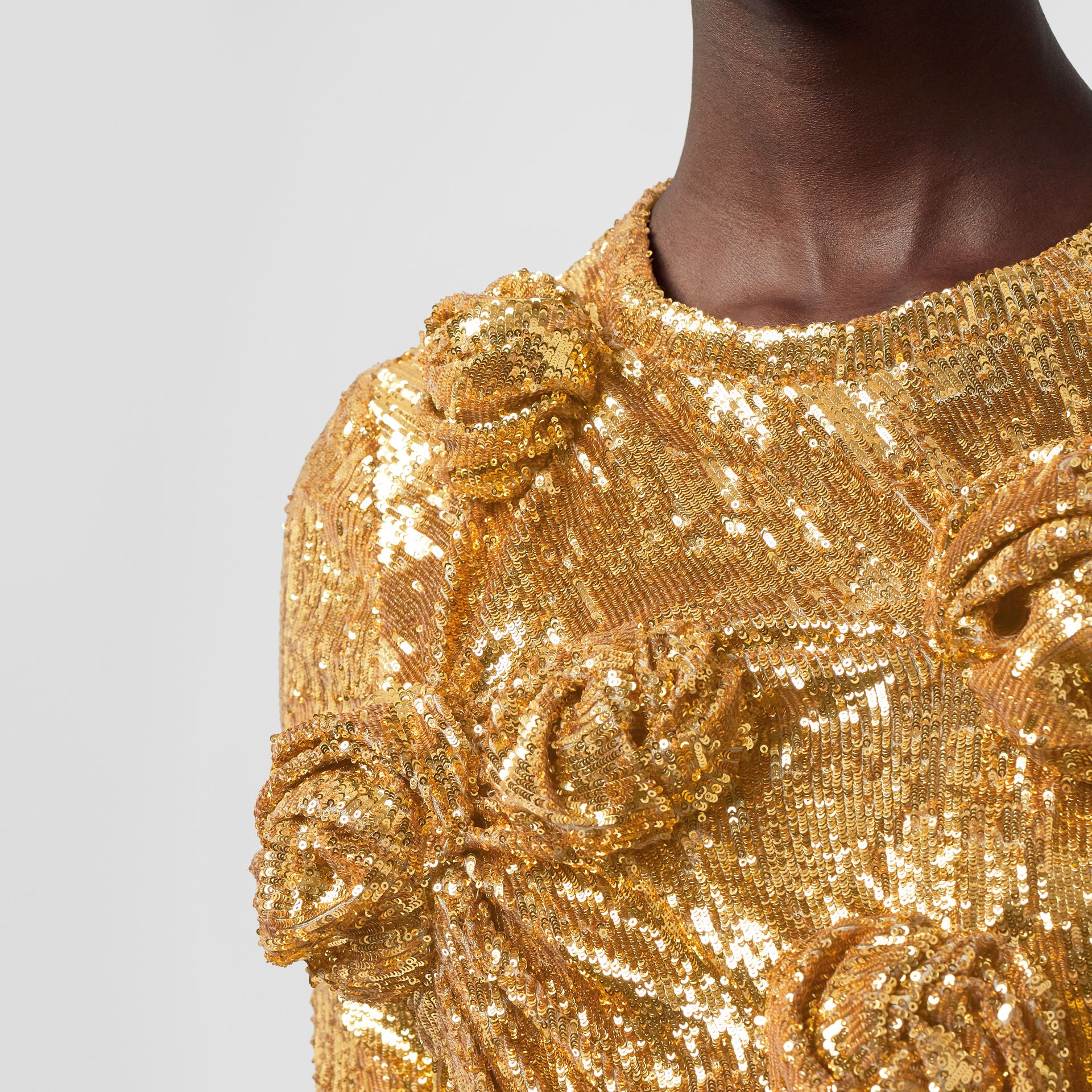 Hand-gathered Detail Sequinned Dress in Honey - Women | Burberry - gallery image 4