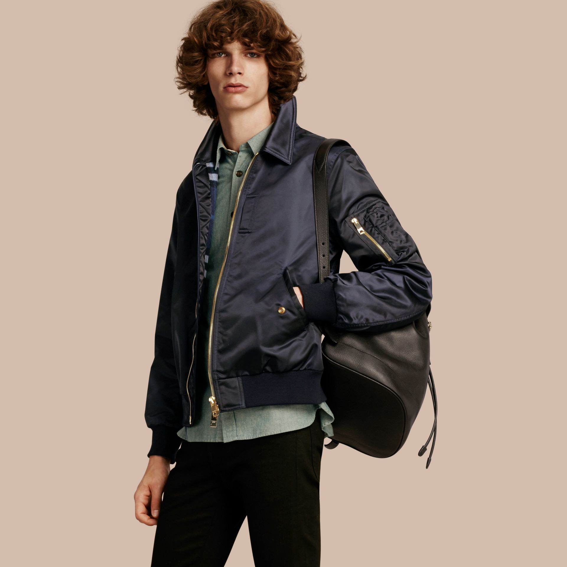 Satin Bomber Jacket with Check Undercollar Navy - gallery image 1
