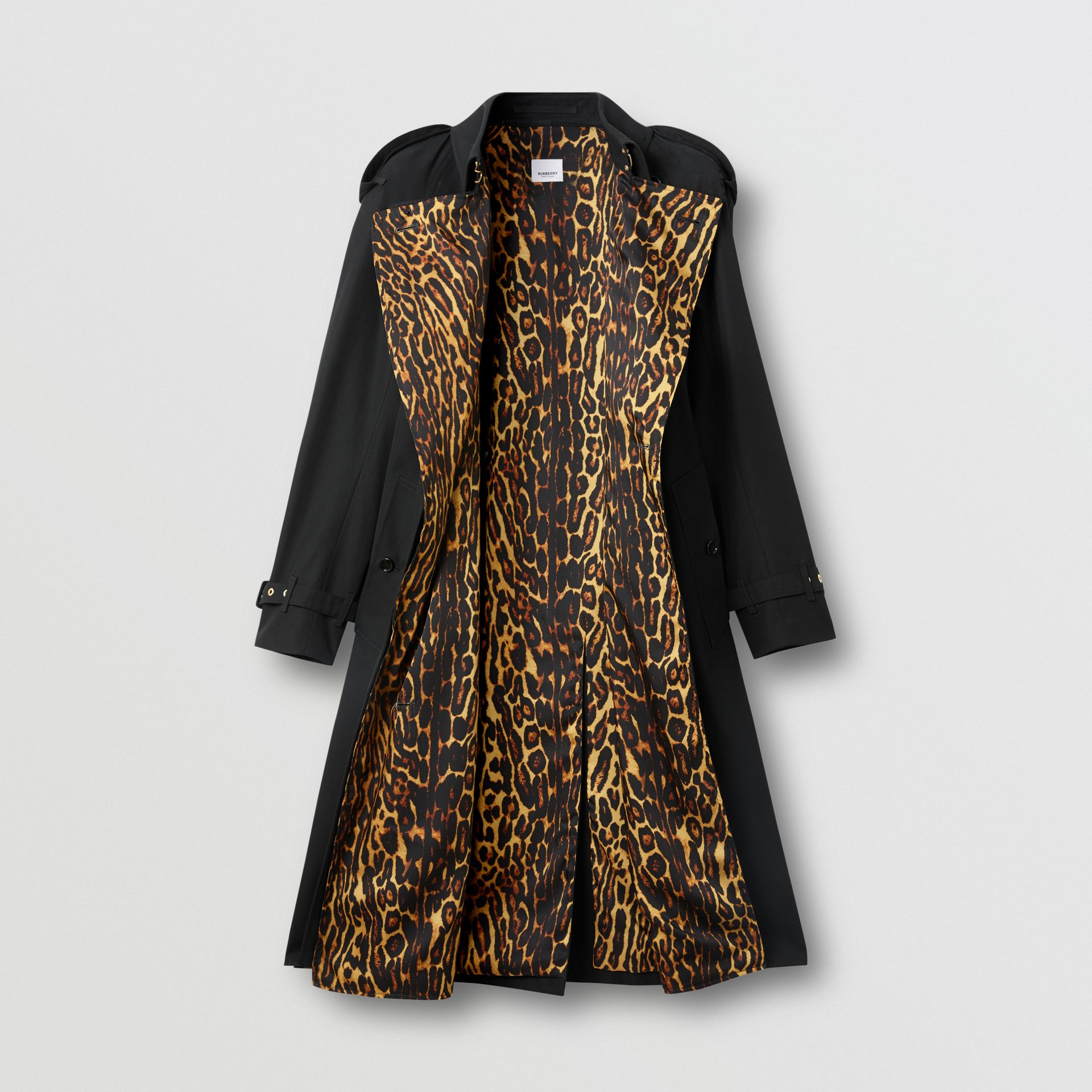 Leopard Print-lined Cotton Gabardine Trench Coat in Black - Women | Burberry Singapore - gallery image 3