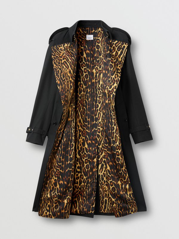 Leopard Print-lined Cotton Gabardine Trench Coat in Black - Women | Burberry Singapore - cell image 3