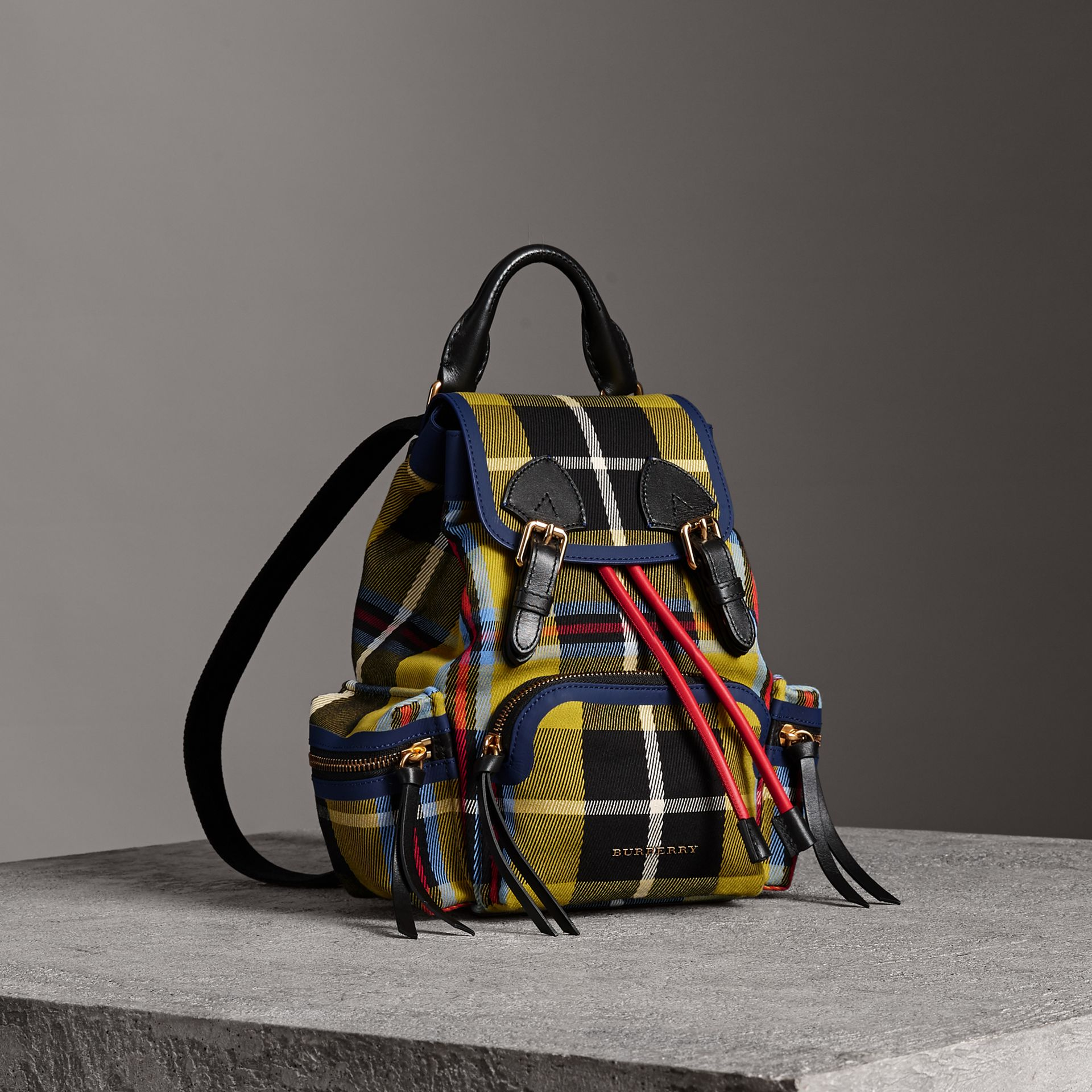 The Small Rucksack in Check Cotton and Leather in Flax Yellow - Women | Burberry United Kingdom - gallery image 0