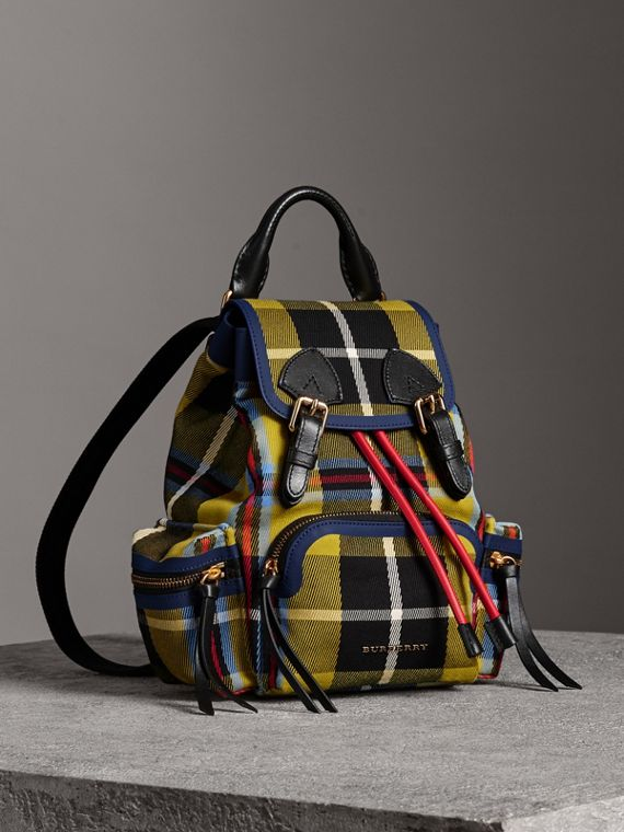 The Small Rucksack in Check Cotton and Leather in Flax Yellow