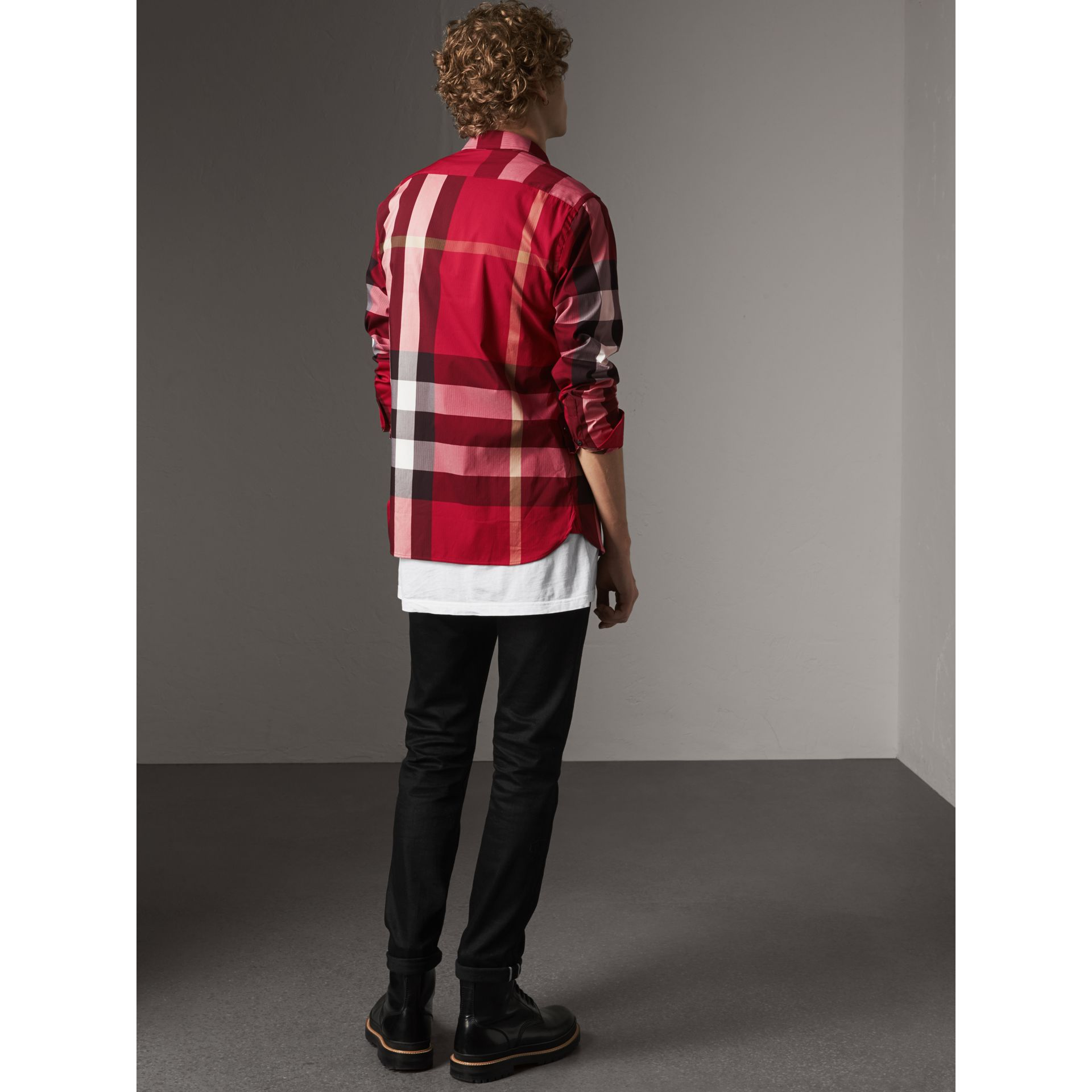 Button-down Collar Check Stretch Cotton Blend Shirt in Parade Red - Men | Burberry - gallery image 3
