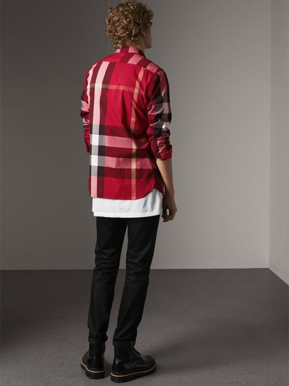Button-down Collar Check Stretch Cotton Blend Shirt in Parade Red - Men | Burberry United Kingdom - cell image 2