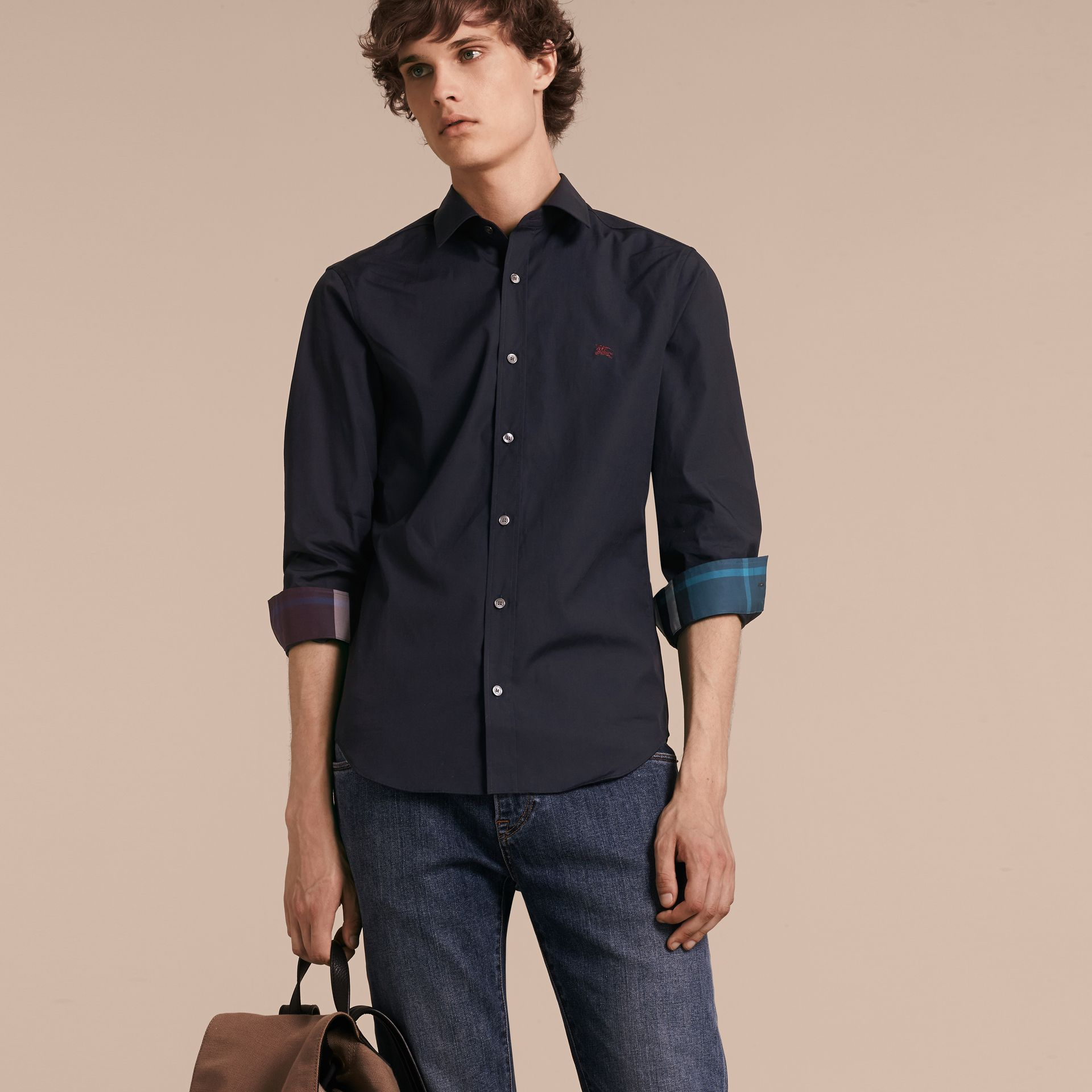 Check Detail Stretch Cotton Shirt Navy - gallery image 6