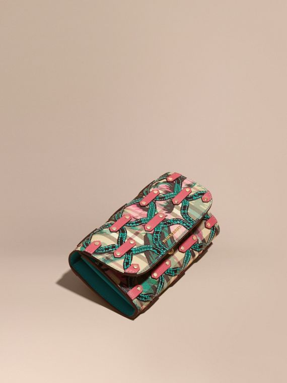 Snakeskin Appliqué Peony Rose Print Haymarket Check Continental Wallet Mineral Blue