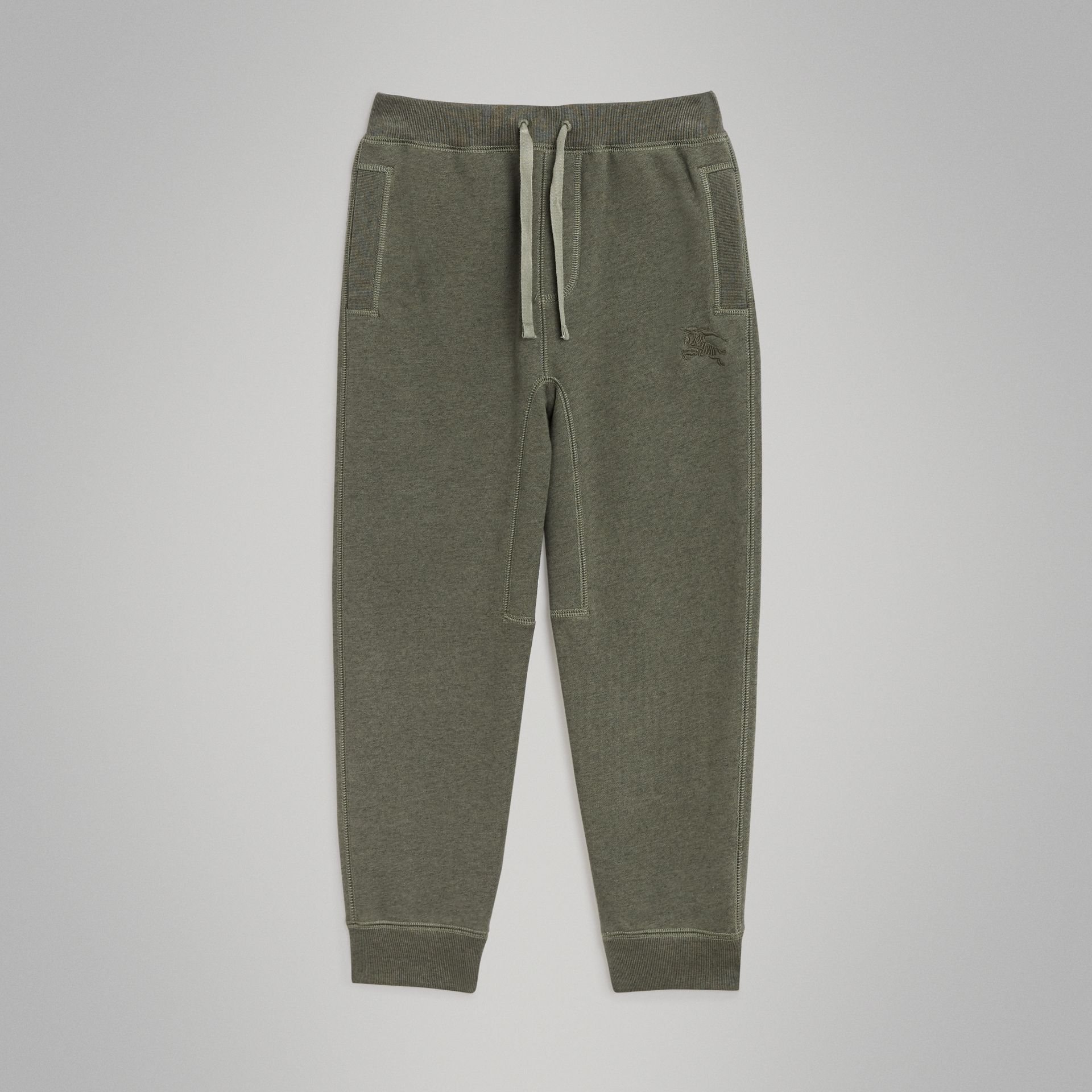 Cotton Jersey Trackpants in Olive Melange | Burberry - gallery image 0