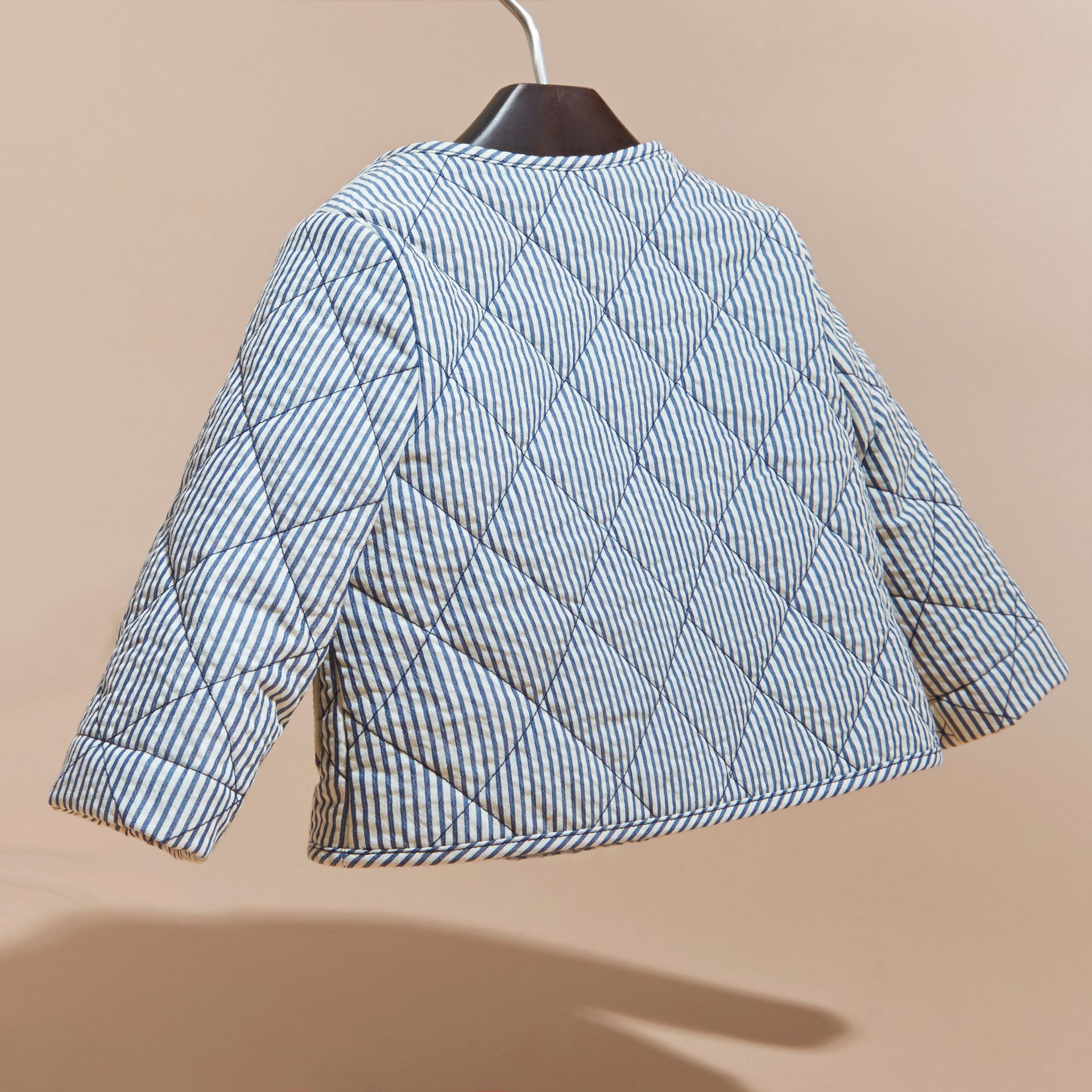 Collarless Striped Quilted Cotton Blend Jacket in Indigo - Children | Burberry - gallery image 4