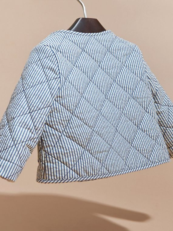 Collarless Striped Quilted Cotton Blend Jacket in Indigo - Children | Burberry - cell image 3