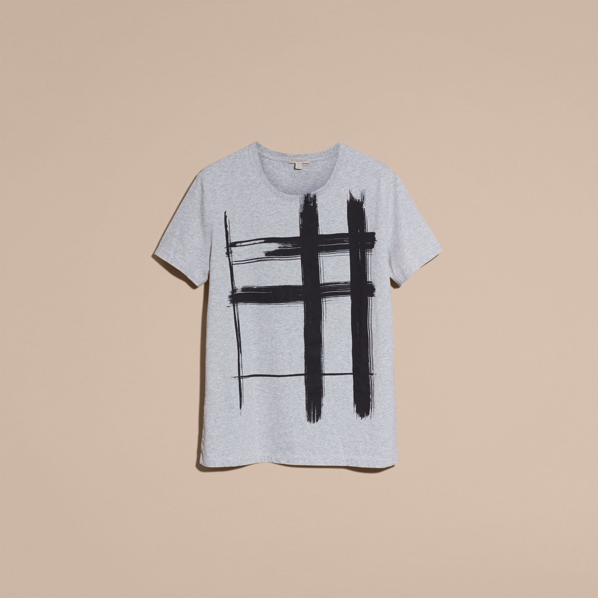 Pale grey melange Brushstroke Check Print Cotton T-Shirt Pale Grey Melange - gallery image 4
