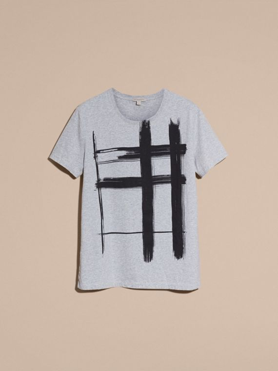 Pale grey melange Brushstroke Check Print Cotton T-Shirt Pale Grey Melange - cell image 3