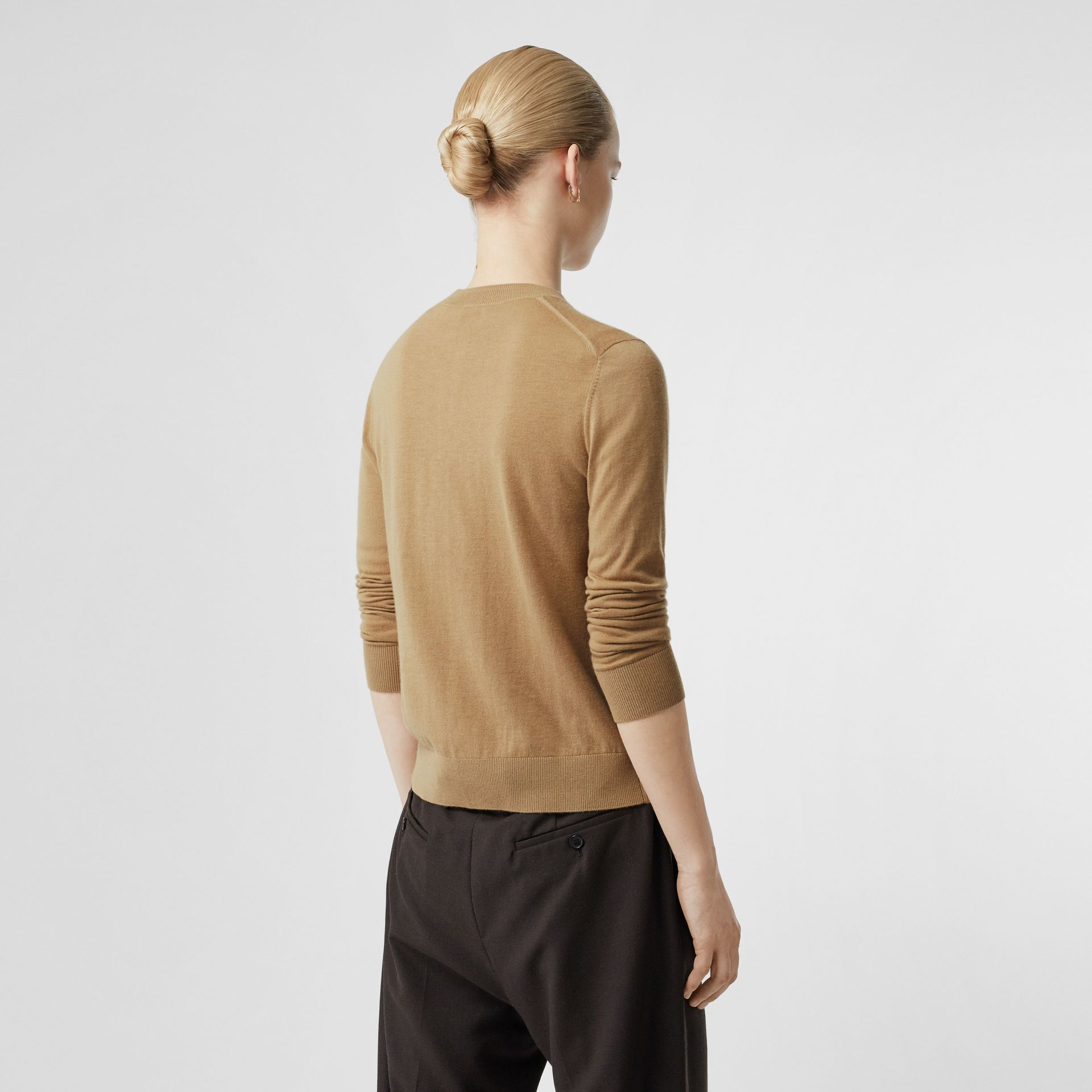 Monogram Motif Cashmere Cardigan in Camel - Women | Burberry United Kingdom - gallery image 2