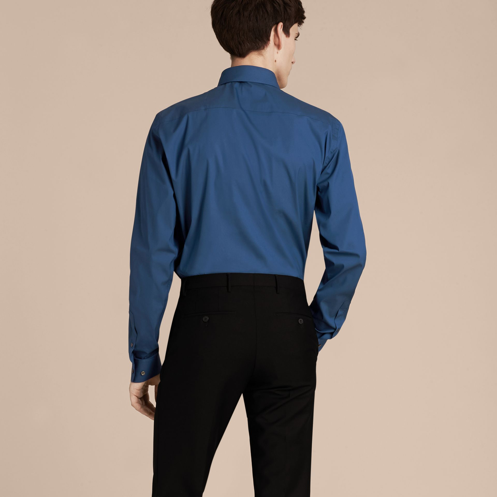 Indigo Slim Fit Stretch Cotton Blend Shirt Indigo - gallery image 3