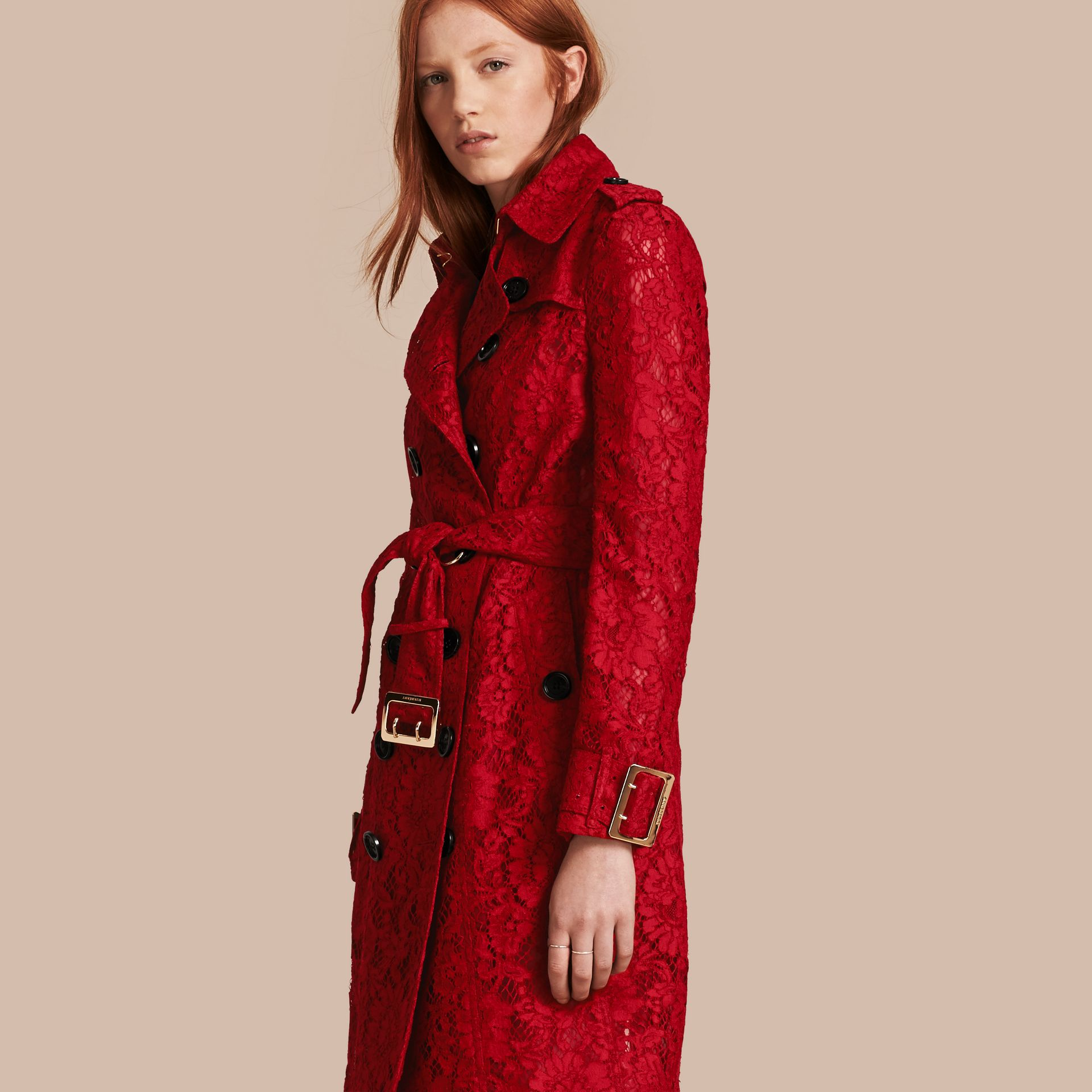 Parade red Lace Trench Coat - gallery image 1