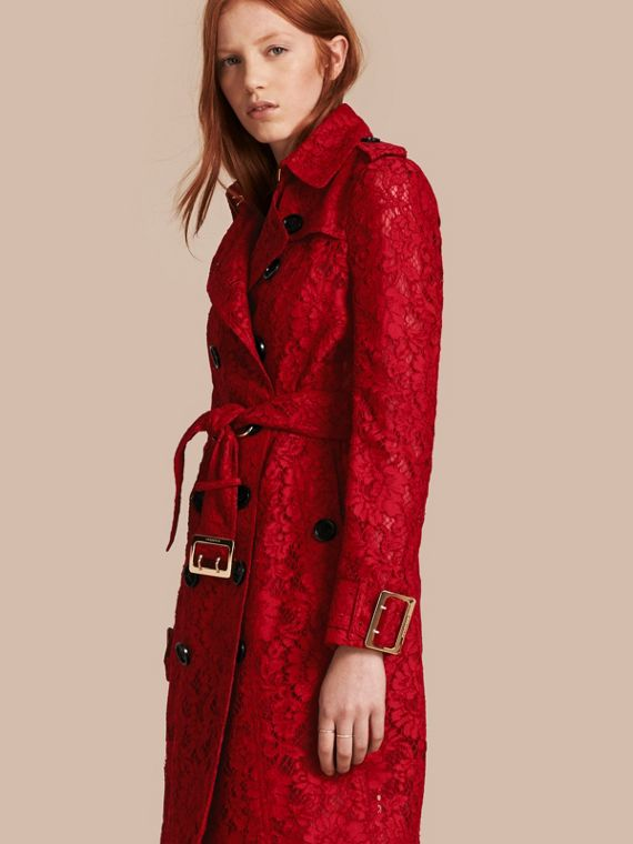 Lace Trench Coat with Oversize Buckles