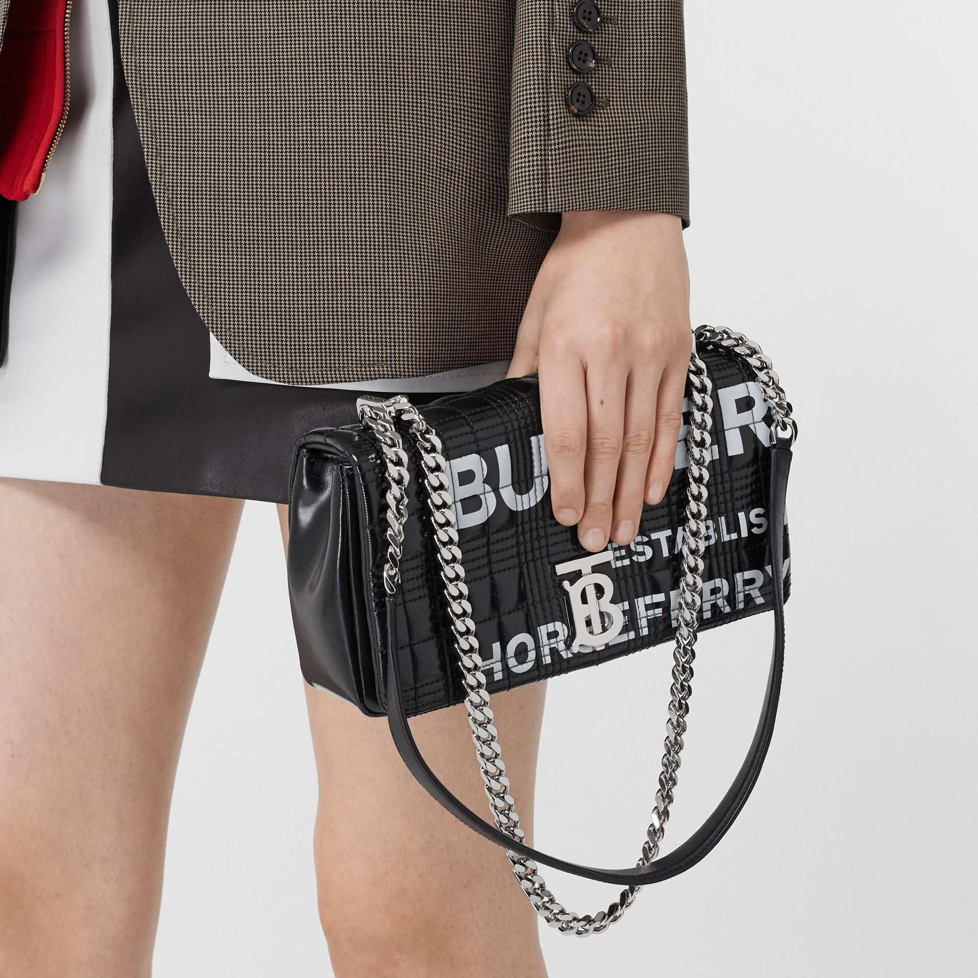 Small Horseferry Print Quilted Lola Bag in Black/silver - Women | Burberry - gallery image 8