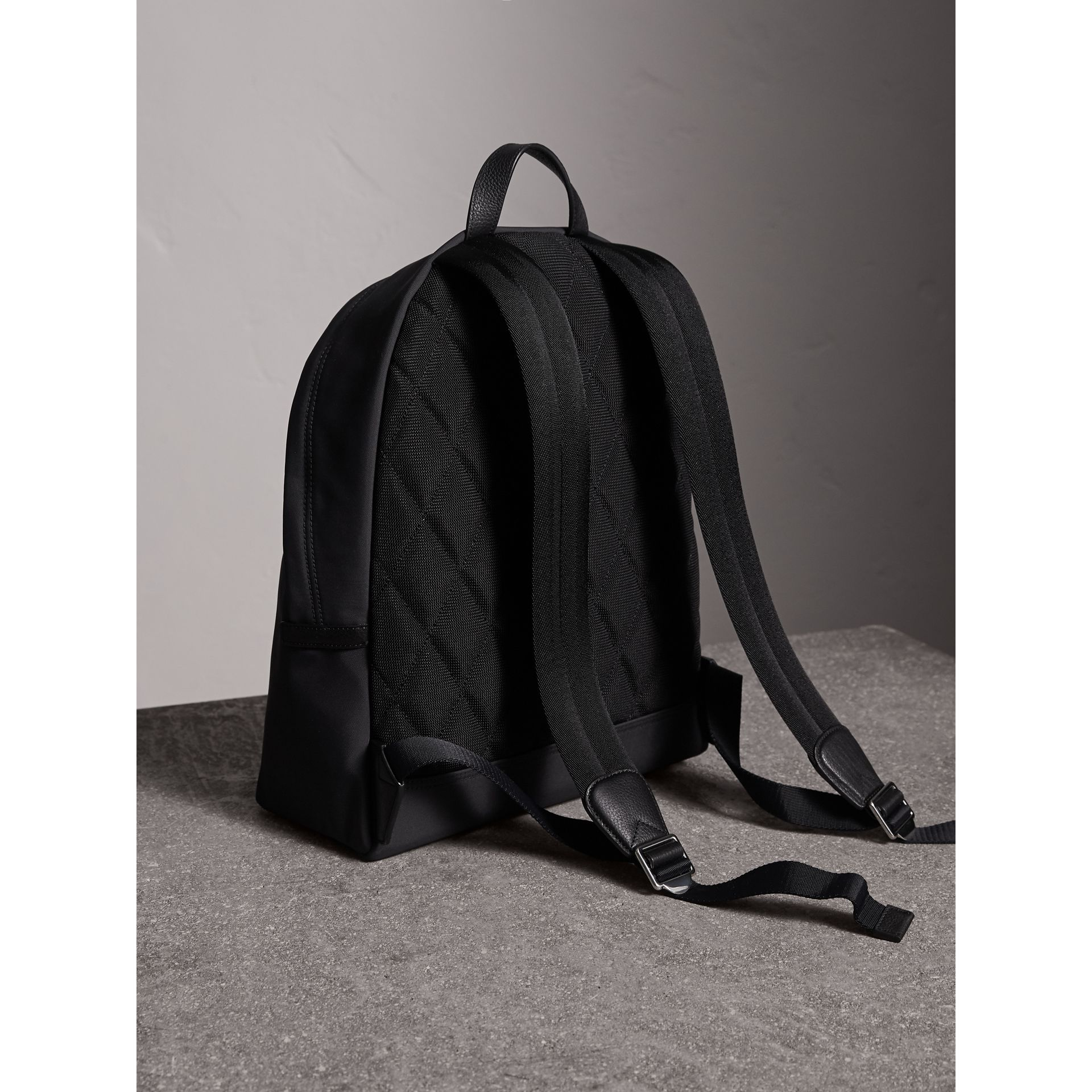 Leather Trim Technical Backpack in Black - Men | Burberry - gallery image 4