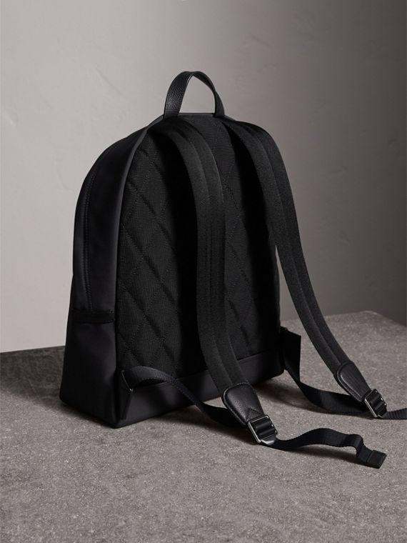Leather Trim Technical Backpack in Black - Men | Burberry - cell image 3