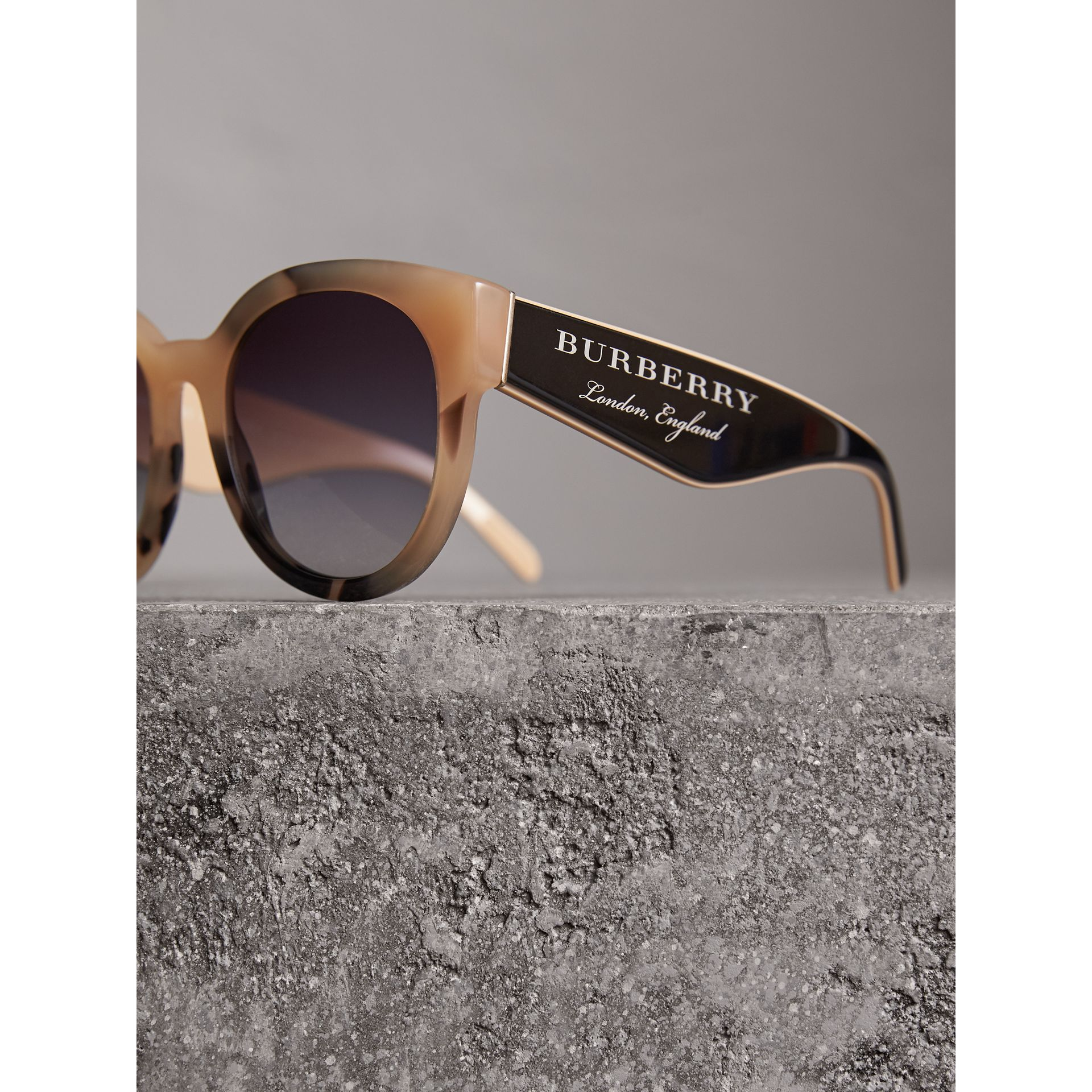 Round Frame Sunglasses in Honey - Women | Burberry - gallery image 1