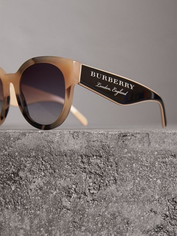 Round Frame Sunglasses in Honey - Women | Burberry - cell image 1