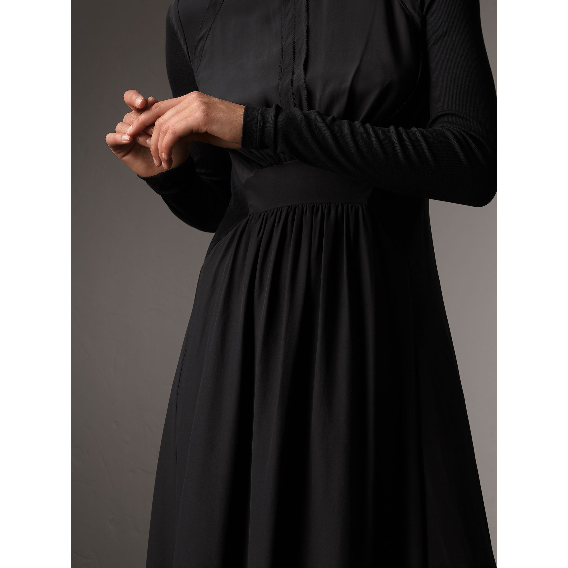 Silk Floor-length Gathered Dress in Black - Women | Burberry - gallery image 1