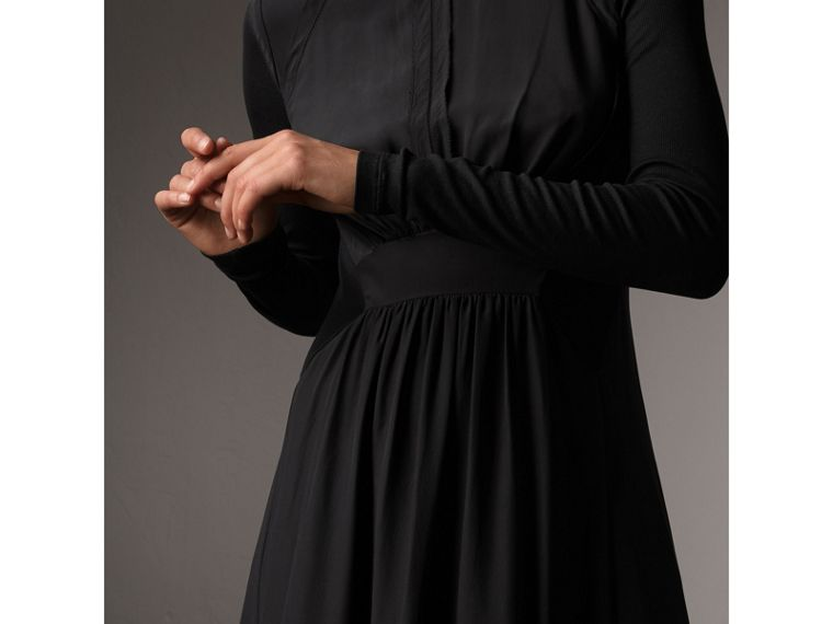 Silk Floor-length Gathered Dress in Black - Women | Burberry Singapore - cell image 1
