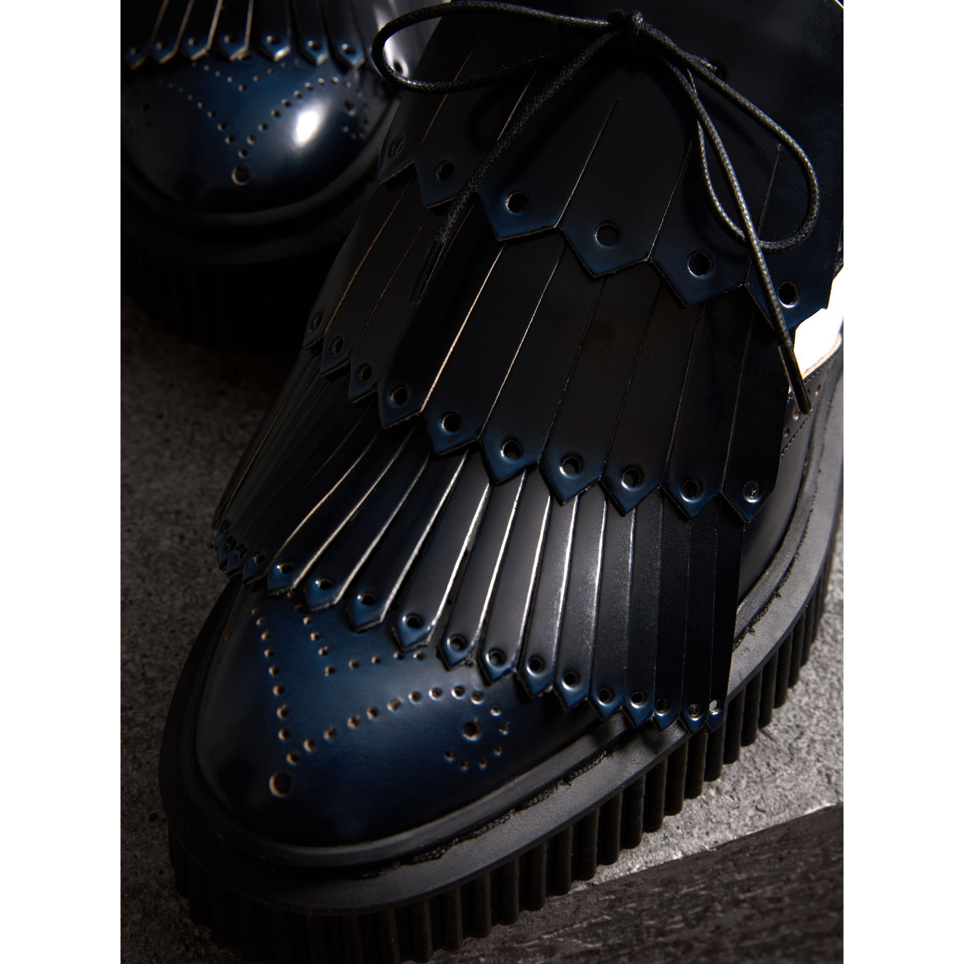 Two-tone Lace-up Kiltie Fringe Leather Shoes in Navy Blue - Women | Burberry Singapore - gallery image 2