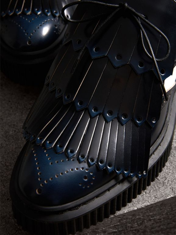 Two-tone Lace-up Kiltie Fringe Leather Shoes in Navy Blue - Women | Burberry - cell image 1