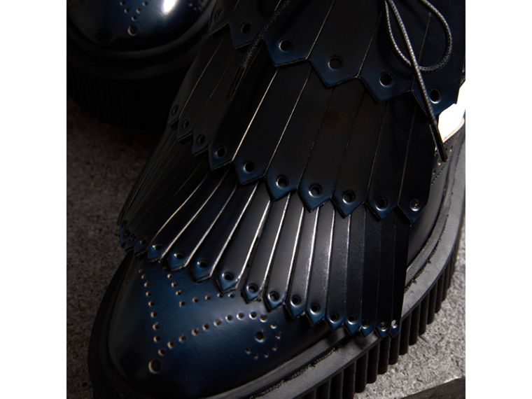 Two-tone Lace-up Kiltie Fringe Leather Shoes in Navy Blue - Women | Burberry Singapore - cell image 1