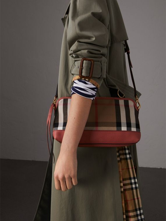 House Check and Leather Clutch Bag in Cinnamon Red - Women | Burberry Singapore - cell image 3