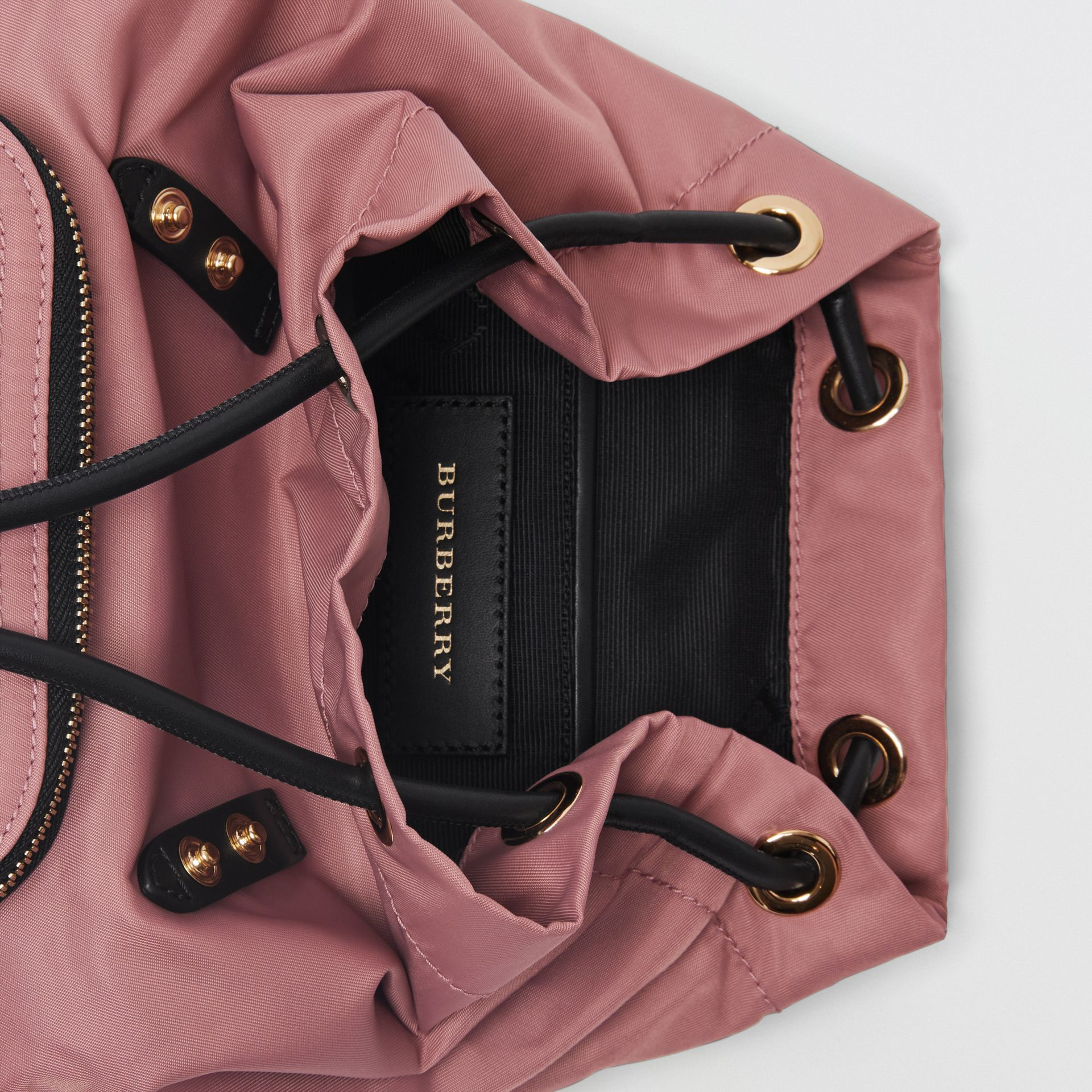 The Small Crossbody Rucksack in Nylon in Mauve Pink - Women | Burberry - gallery image 5