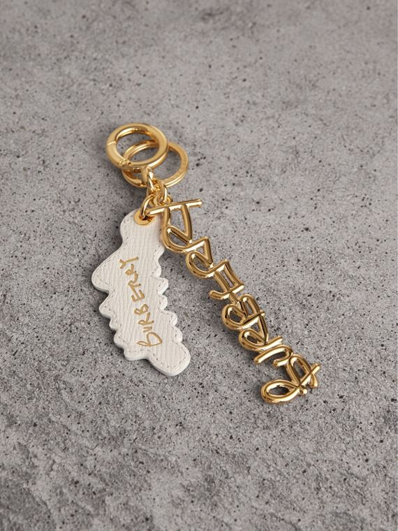 Doodle Motif Leather Key Charm in Light Gold