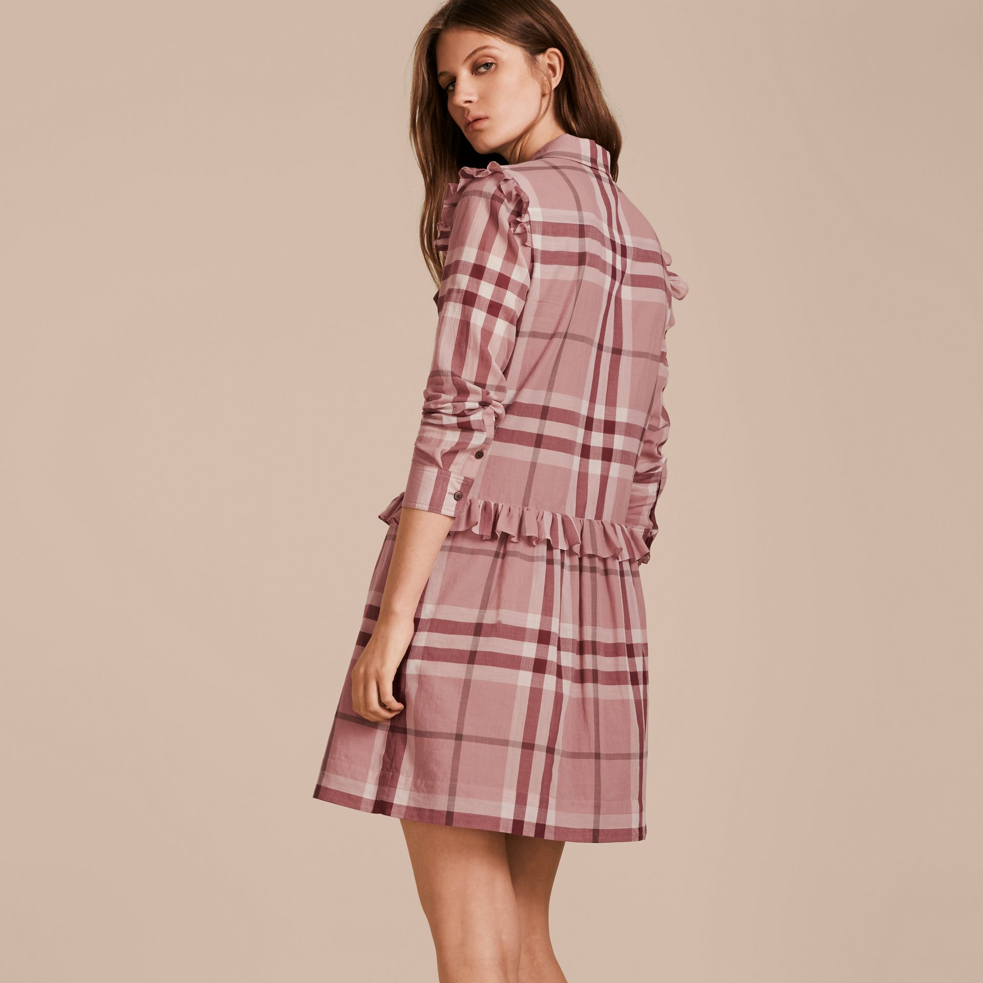 Ruffle detail cotton check shirt dress in antique pink for Burberry check shirt dress