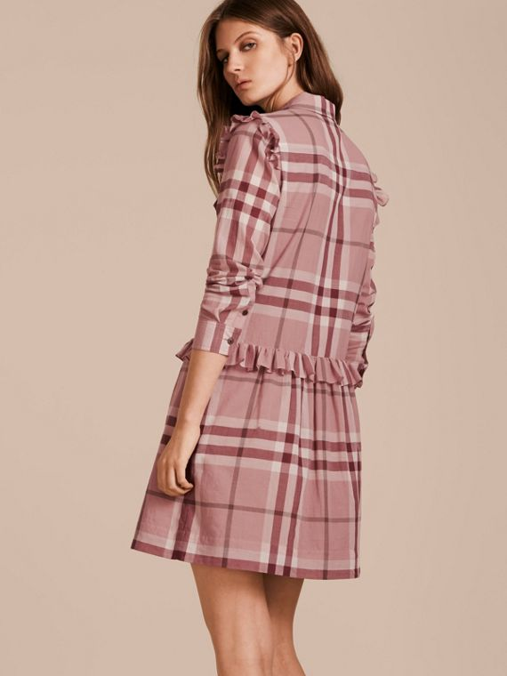 Ruffle Detail Cotton Check Shirt Dress in Antique Pink - cell image 2