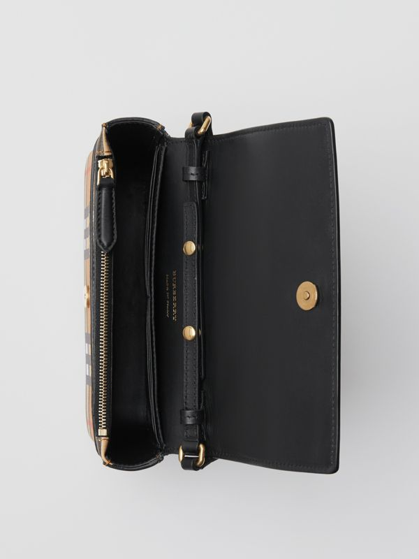 Vintage Check and Leather Wallet with Detachable Strap in Black - Women | Burberry Australia - cell image 3