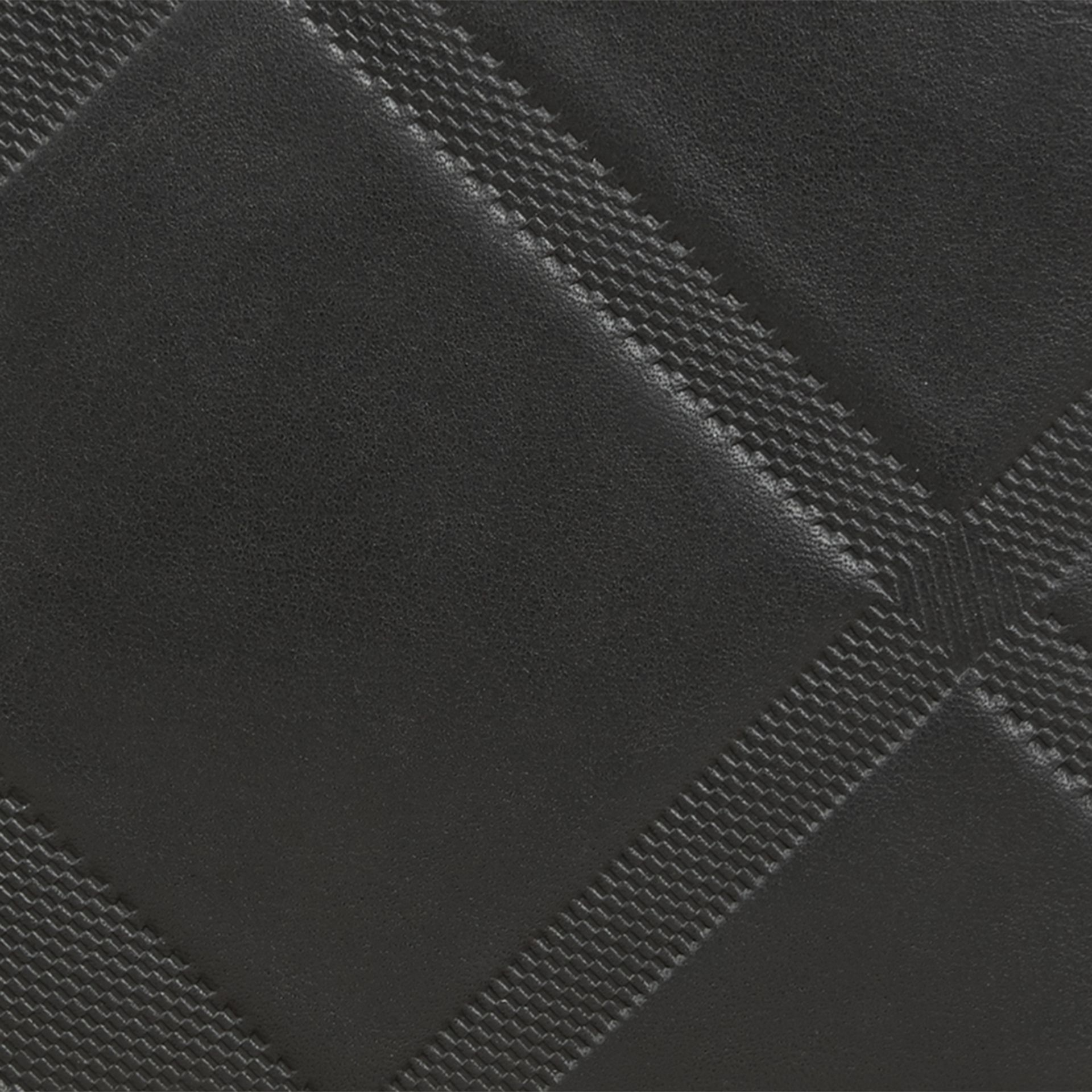 Black Check-embossed Leather Folding Wallet Black - gallery image 2