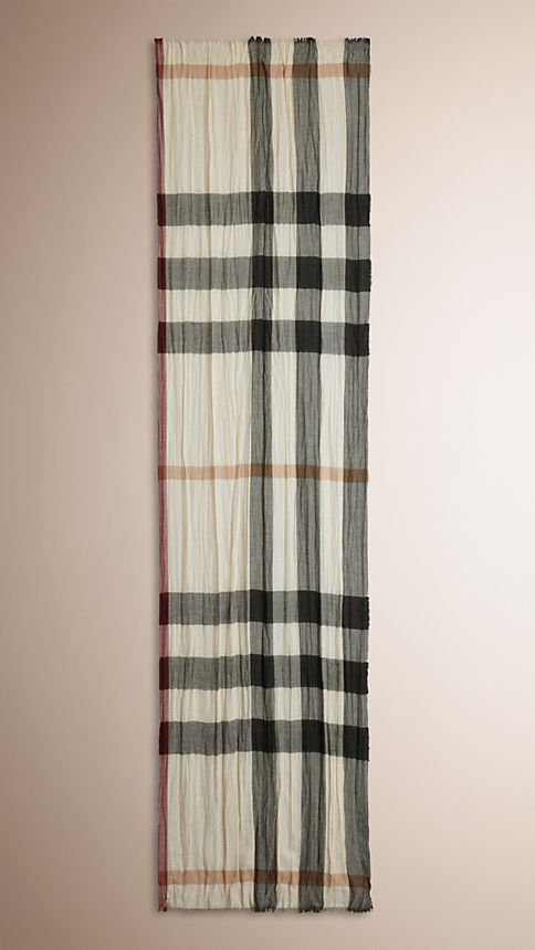 Ivory check Check Cashmere Crinkled Scarf Ivory - Image 2