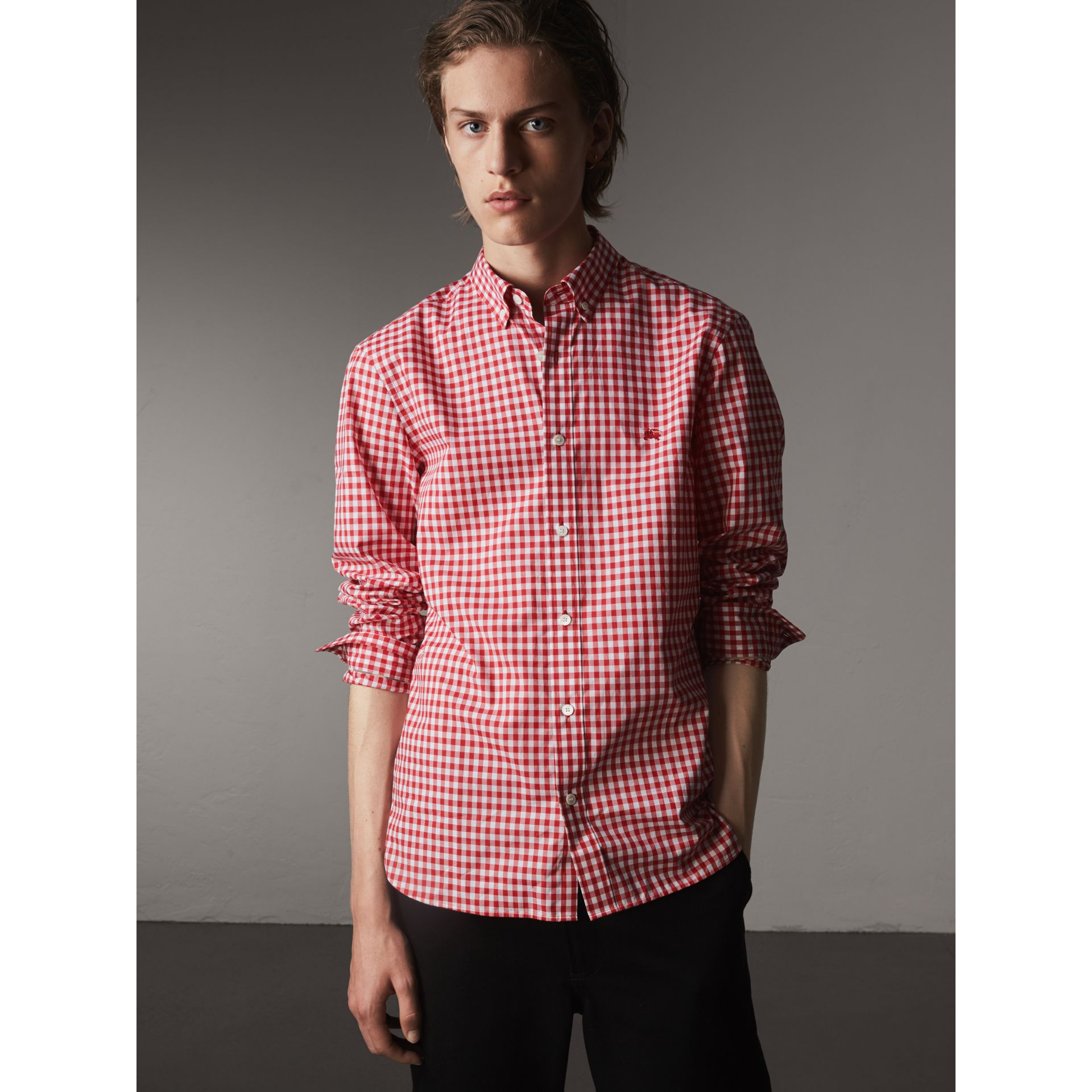 Button-down Collar Gingham Cotton Shirt in Parade Red - Men | Burberry - gallery image 1