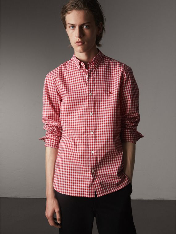 Button-down Collar Gingham Cotton Shirt in Parade Red