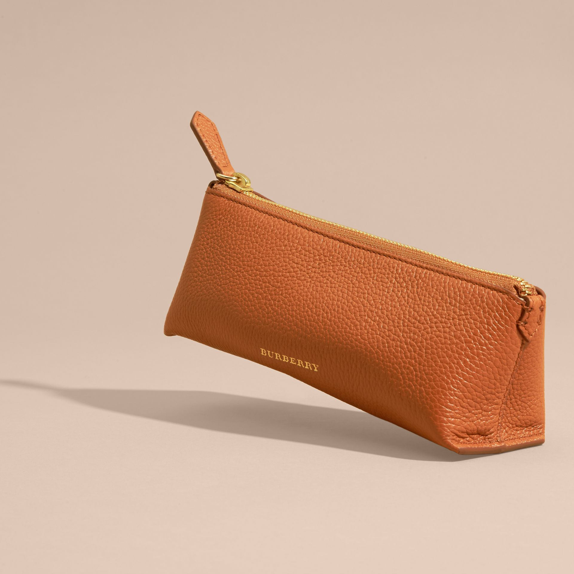Orange umber Small Grainy Leather Digital Accessory Pouch - gallery image 3
