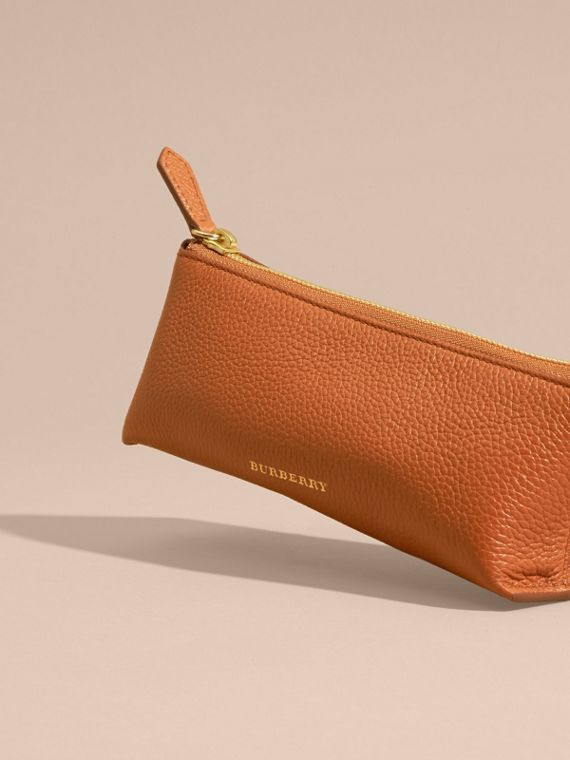 Orange umber Small Grainy Leather Digital Accessory Pouch - cell image 2