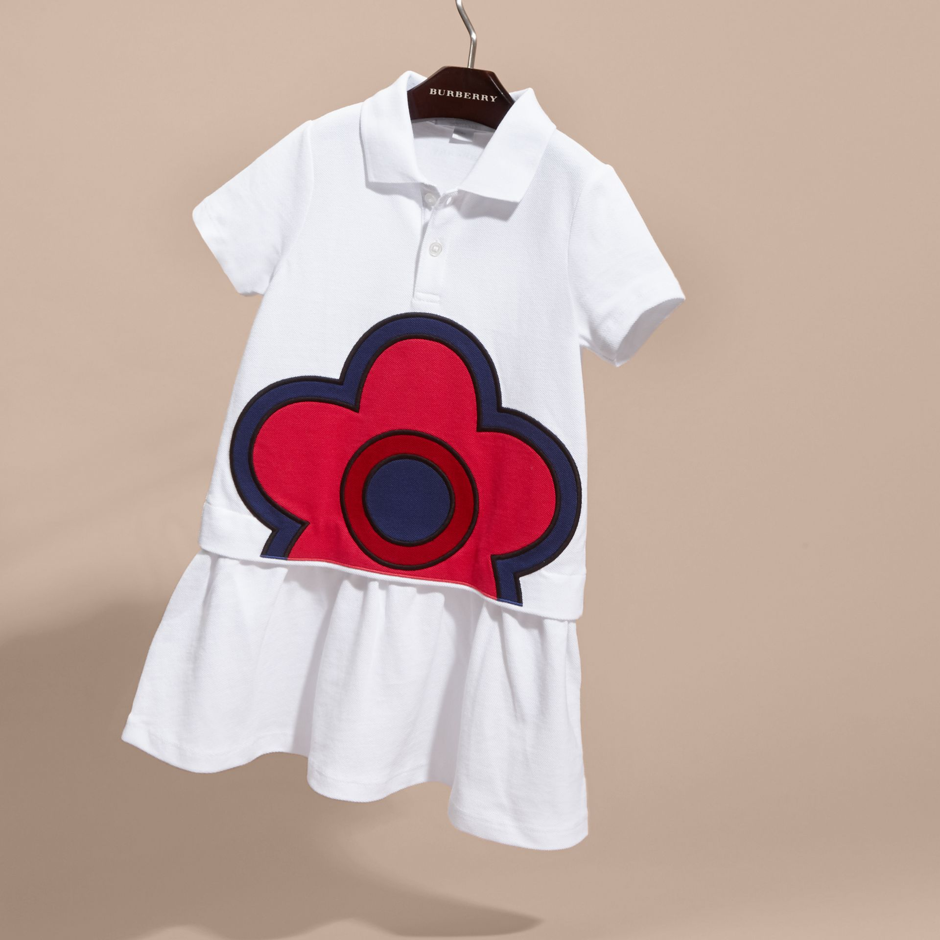 Floral Appliqué Cotton Polo Shirt Dress - gallery image 3