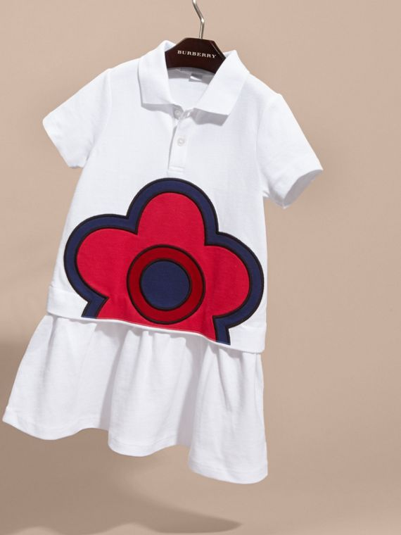 White Floral Appliqué Detail Cotton Shirt Dress - cell image 2