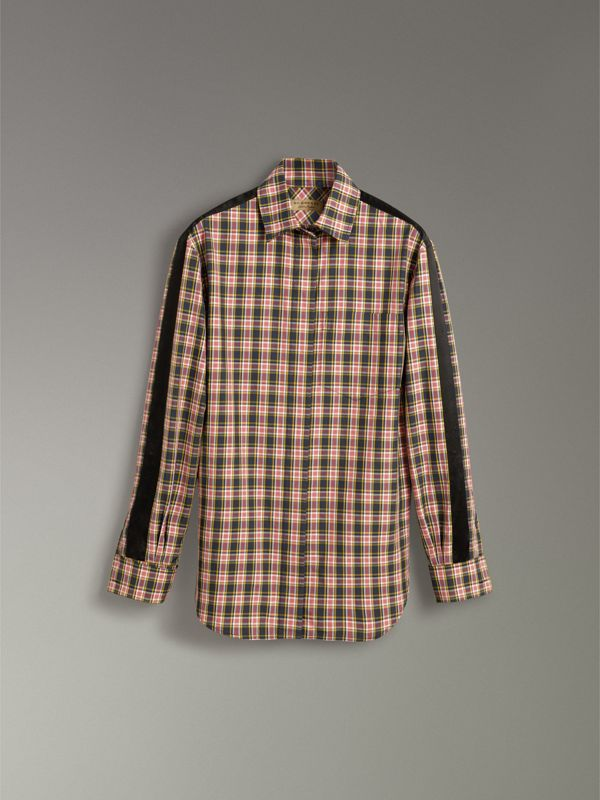 Stripe Detail Check Cotton Silk Shirt in Bright Coral Pink - Women | Burberry United States - cell image 3