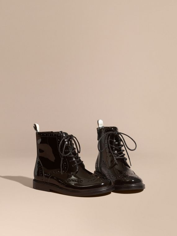 Lace-up Patent Leather Brogue Boots