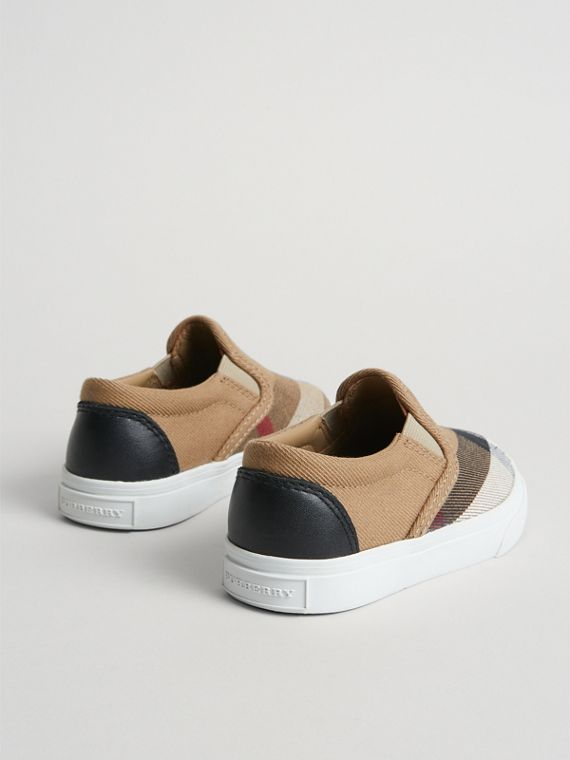 House Check and Leather Slip-on Sneakers in Classic/optic White | Burberry Australia - cell image 2