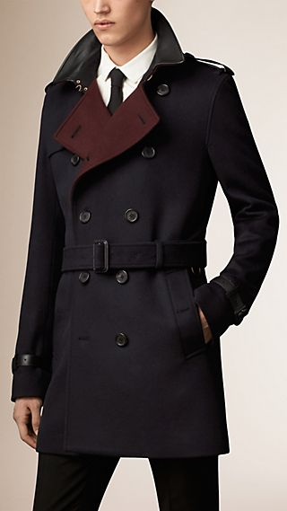 Lambskin Detail Virgin Wool Cashmere Trench Coat